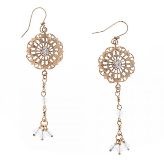 Barbosa Jewelry Gold Filigree Earrings with Crystal Drops