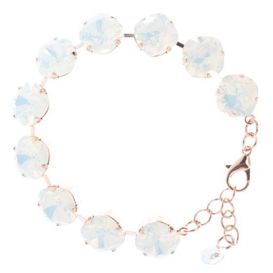 YPMCO 12mm Square Swarovski Crystal Bracelet - White Opal & Rose Gold