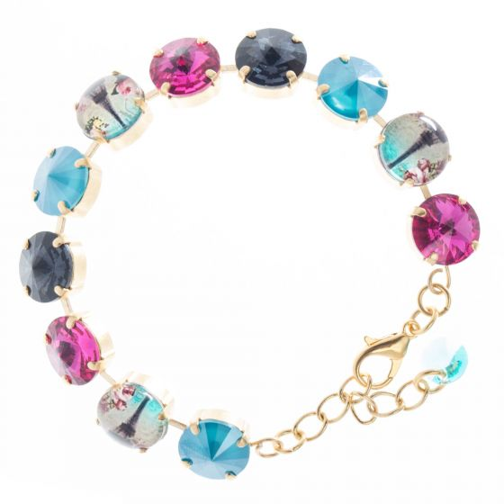 Paris Eiffel Tower YPMCO 12mm Crystal Bracelet - Pink &Teal