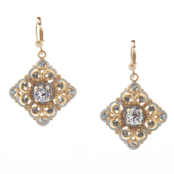 Catherine Popesco Gold Square Silver French Enamel Crystal Earrings