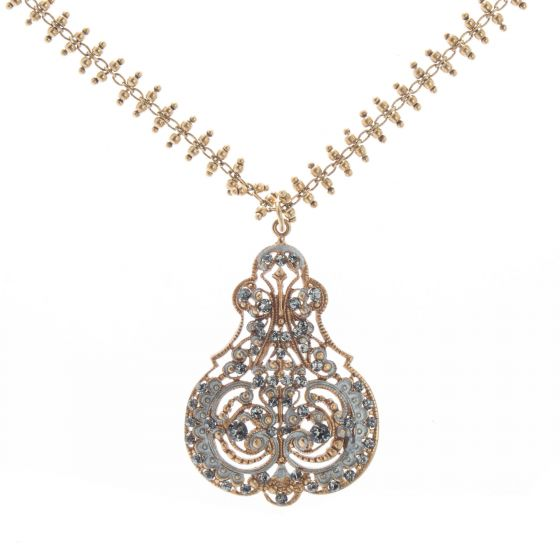 Catherine Popesco Gold Filigree Silver French Enamel Crystal Necklace