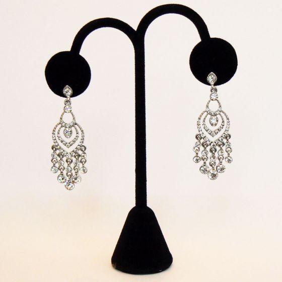 Silver and Crystal Chandelier Earrings - Bride  Bracchiale