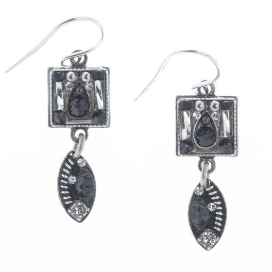 Firefly Mosaic Jewelry Silver Black & White Crystal Drop Viva Earrings