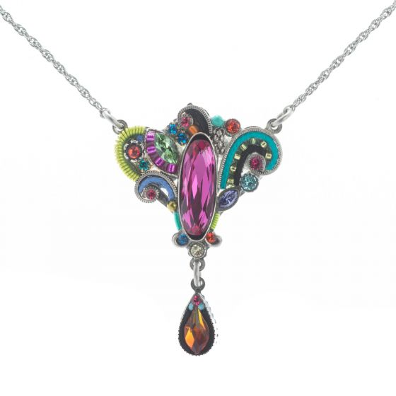 Firefly Mosaic Jewelry Multi-color Organic Fuchsia Crystal Necklace