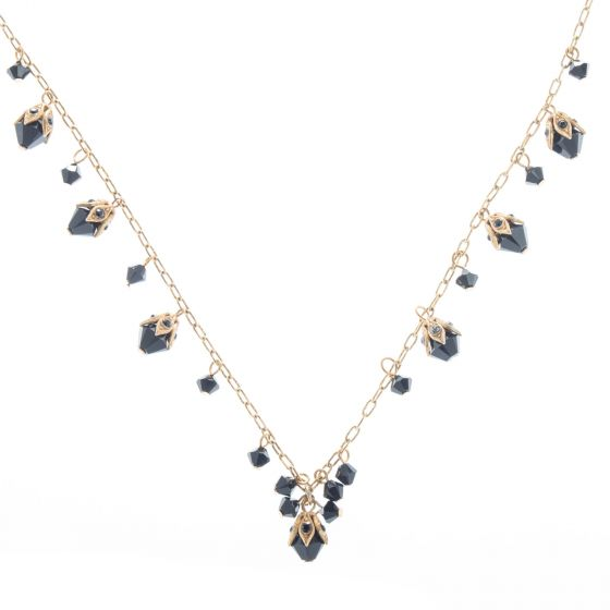 Catherine Popesco Jet Black and Gold Beaded Crystal Necklace