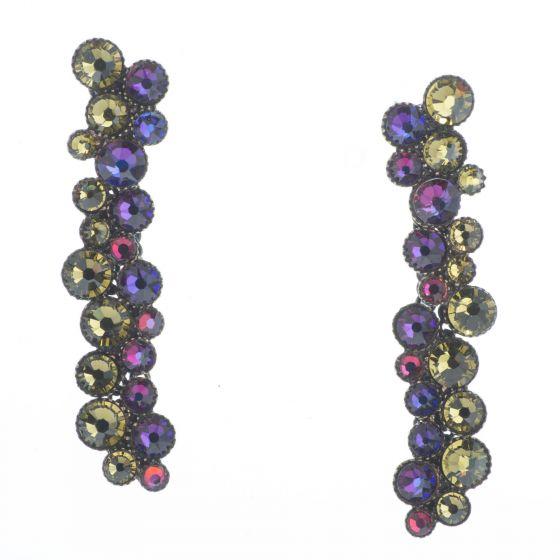 Konplott Jewelry - Long Green & Lila Inside Out Crystal Post Earrings