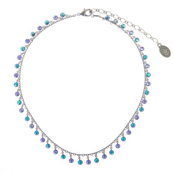 Konplott Jewelry - Blue & Lila Waterfalls Crystal Dangle Necklace