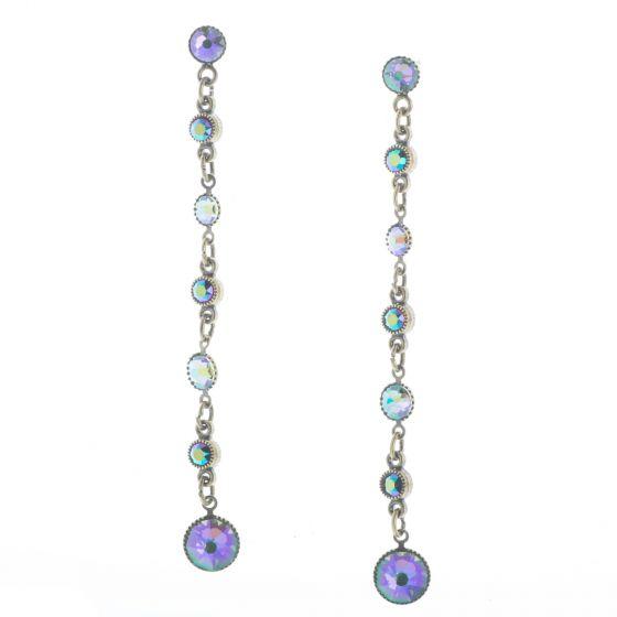 Konplott Jewelry - Long Blue & Lila Waterfalls Post Dangle Crystal Earrings