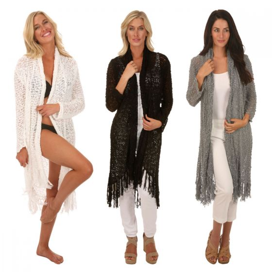 Lost River Clothing Popcorn Knit Fringed Duster - Black, Fog, Blush, White