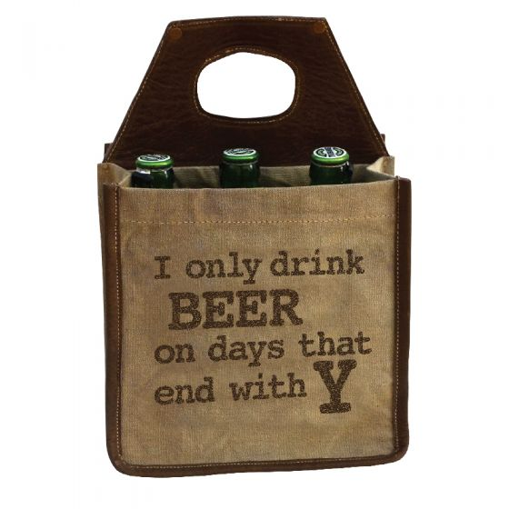 """I Only Drink Beer on Days That End With Y"" Beer Carrier by Clea Ray"