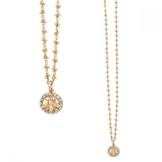 Catherine Popesco Gold Bee in Circle Crystal Pendant Necklace