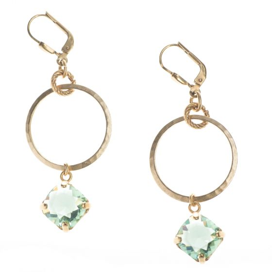 Catherine Popesco Marine Crystal Drop From Small Hoop Earrings