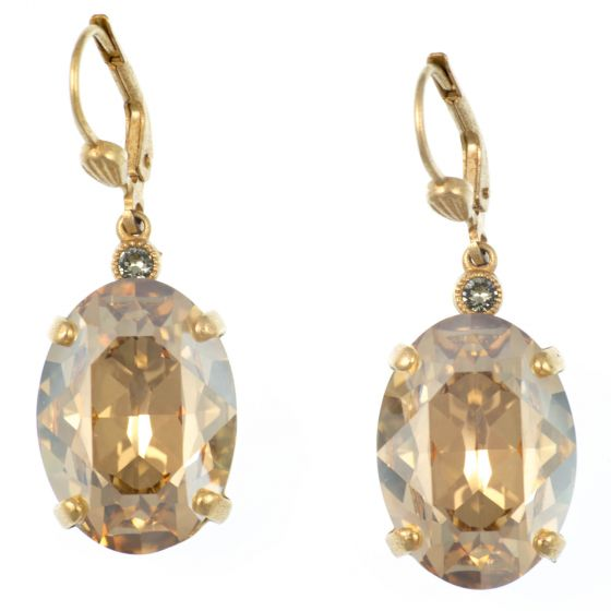 Catherine Popesco Oval Champagne and Gold Crystal Earrings