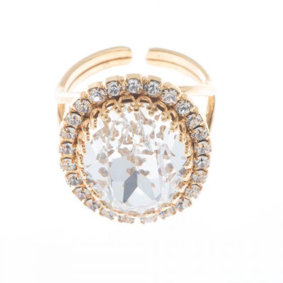 YPMCO Oval Crown Setting Swarovski Crystal Ring