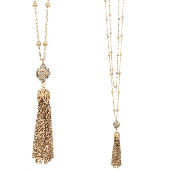 Catherine Popesco Tassel Crystal Pendant Necklace - 42""
