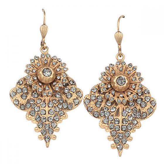 Catherine Popesco Elegant Floral Black Diamond Crystal Earrings