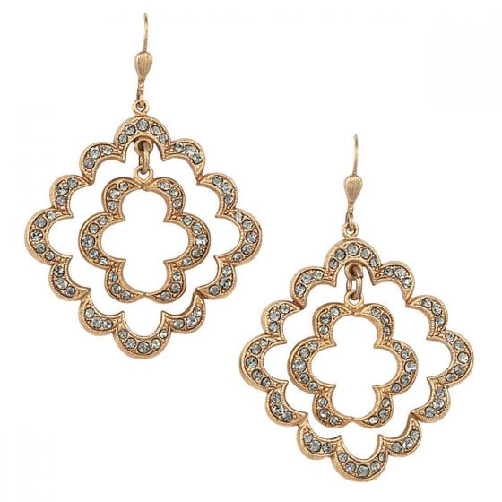 Catherine Popesco Double Open Scalloped Crystal Earrings
