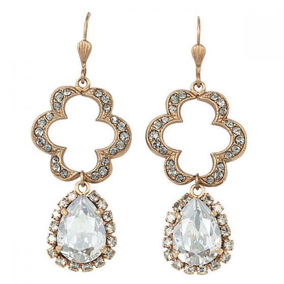 Catherine Popesco Open Scallop with Teardrop Crystal Earrings
