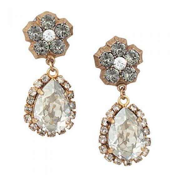 Catherine Popesco Post Dangle Teardrop Crystal Earrings