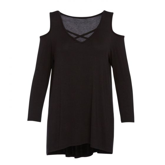 Black Criss Cross Peek-a-boo Tunic Cold Shoulder Top by Accent