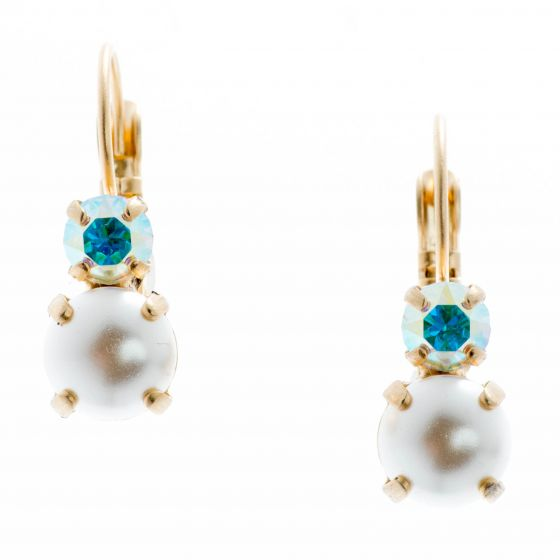 YPMCO 8mm White Pearl Earrings with AB Top Stone