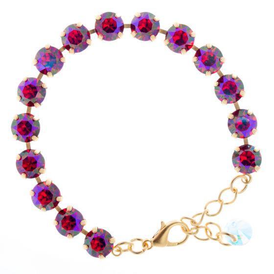 YPMCO 8mm Red Siam AB Swarovski Crystal Tennis Bracelet