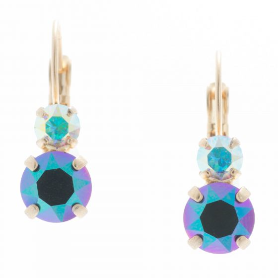 YPMCO Petite 8mm Scarabaeus Crystal Earrings with Top Stone