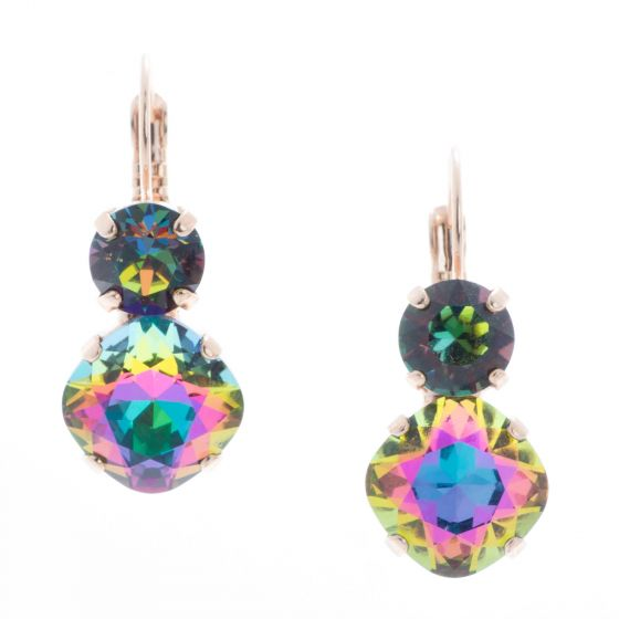 YPMCO 12mm Square Electra Crystal Earrings with Top Stone