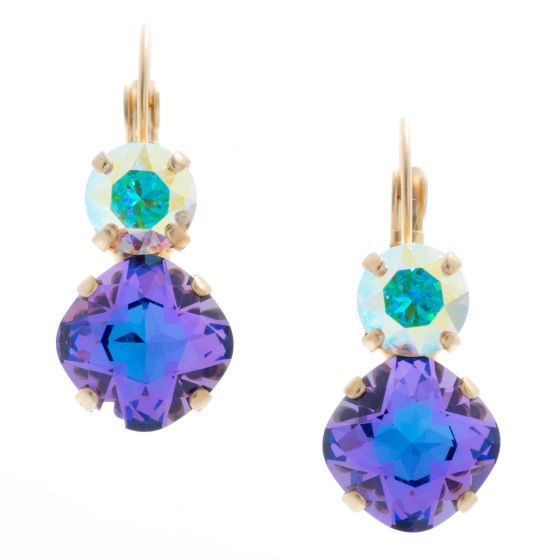 YPMCO 12mm Square Heliotrope Crystal Earrings with Top Stone