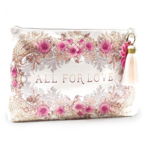 Papaya! Large Pink & Ivory Floral Accessory Pouch with Tassel - All For Love