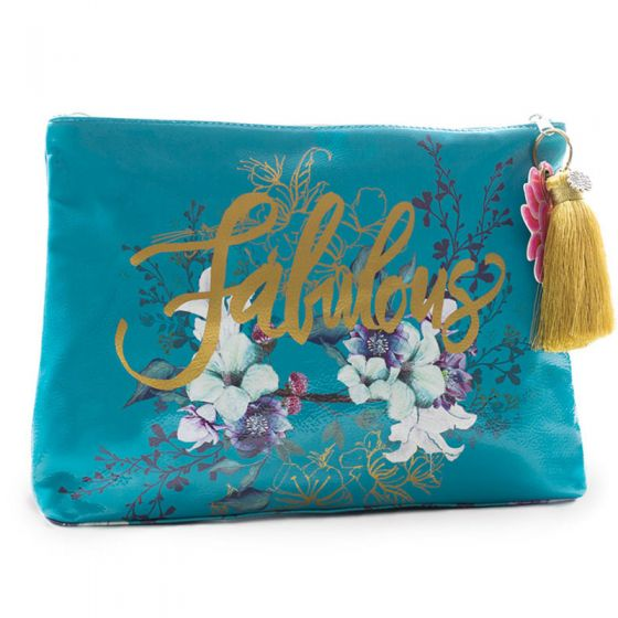 Papaya! Large Jewel Flower Accessory Pouch with Tassel - Fabulous!