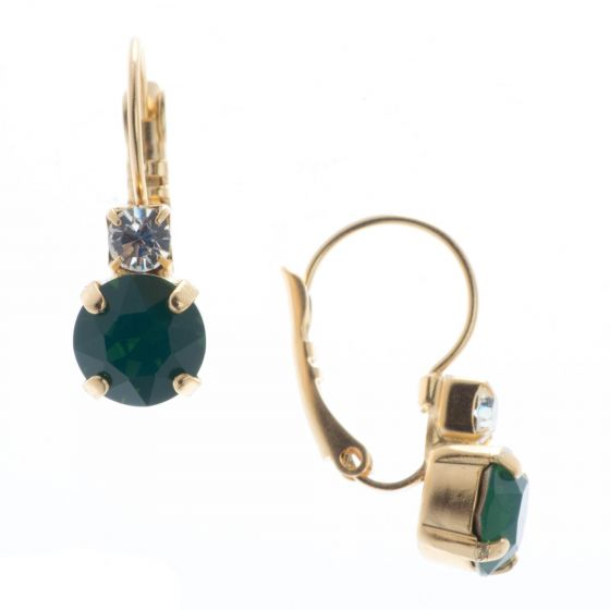 YPMCO Petite 8mm Palace Green Opal Crystal Earrings with Top Stone