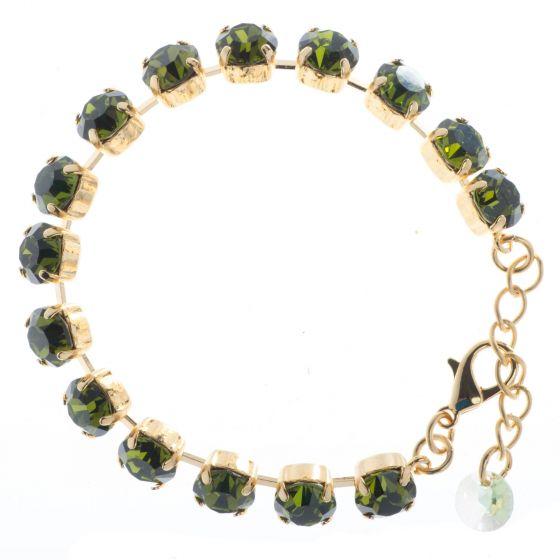 YPMCO 8mm Olivine Green Swarovski Crystal Tennis Bracelet