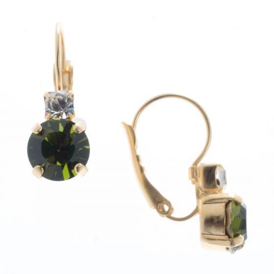 YPMCO Petite 8mm Olivine Green Crystal Earrings with Top Stone