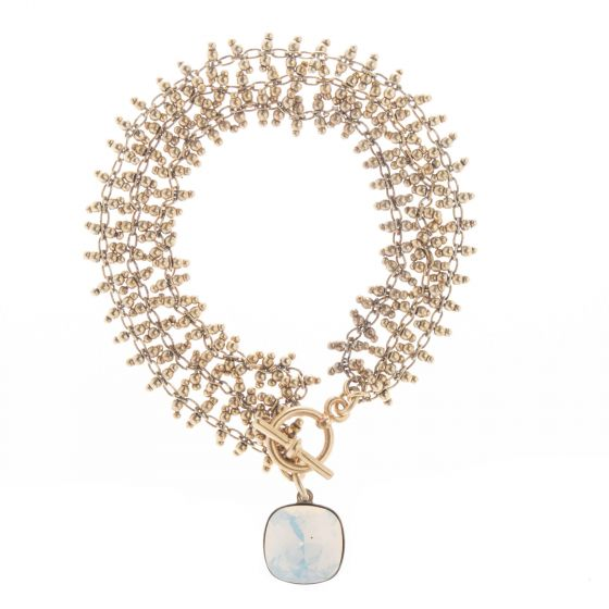 Catherine Popesco Ladder Chain White Opal Crystal Charm Bracelet