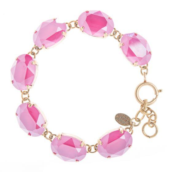 Catherine Popesco Oval Stone Peony Pink Crystal Bracelet