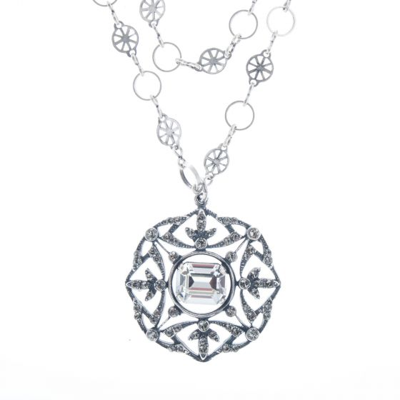 Beautiful Catherine Popesco Silver Filigree Crystal Necklace