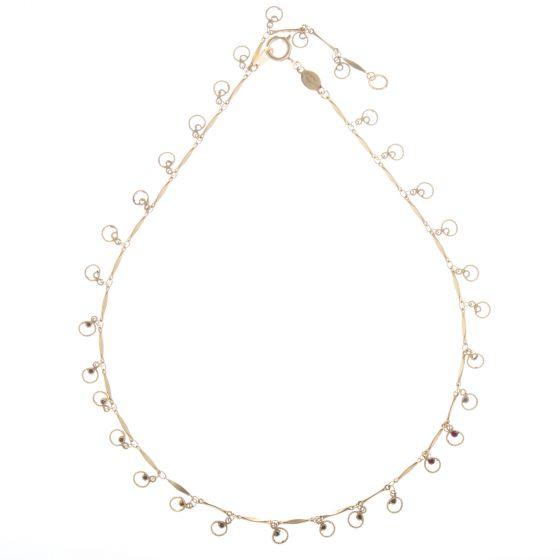 Catherine Popesco Tiny Red Crystal Gold Round Fringe Necklace