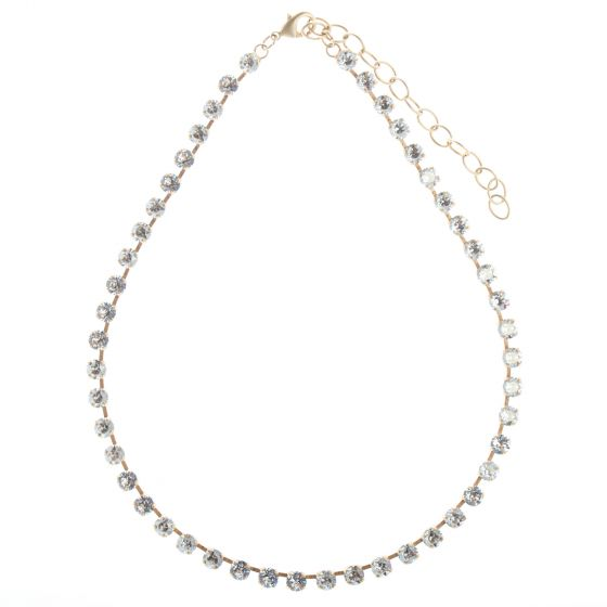 Catherine Popesco Clear Swarovski Crystal Gold Tennis Necklace