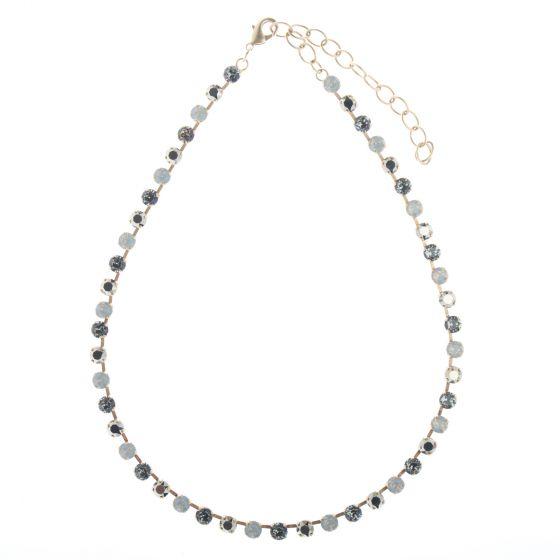 Catherine Popesco Multi-color Swarovski Crystal Gold Tennis Necklace