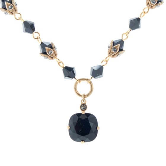 Catherine Popesco Necklace - Jet Black Beaded Chain with Crystal Drop