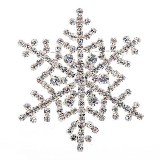 Silver Crystal Rhinestone Snowflake Christmas Pin Brooch
