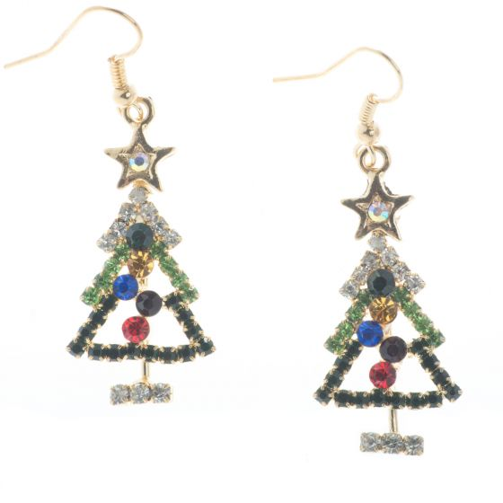 Christmas Tree Earrings Multi-color Crystal Rhinestones - Gold or Silver