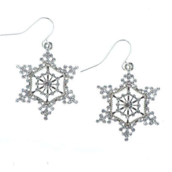 Silver Crystal Rhinestone Lace Snowflake Christmas Earrings