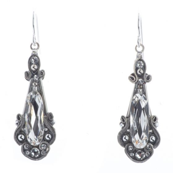 Firefly Mosaic Jewelry Long Elaborate Silver & Clear Crystal Earrings