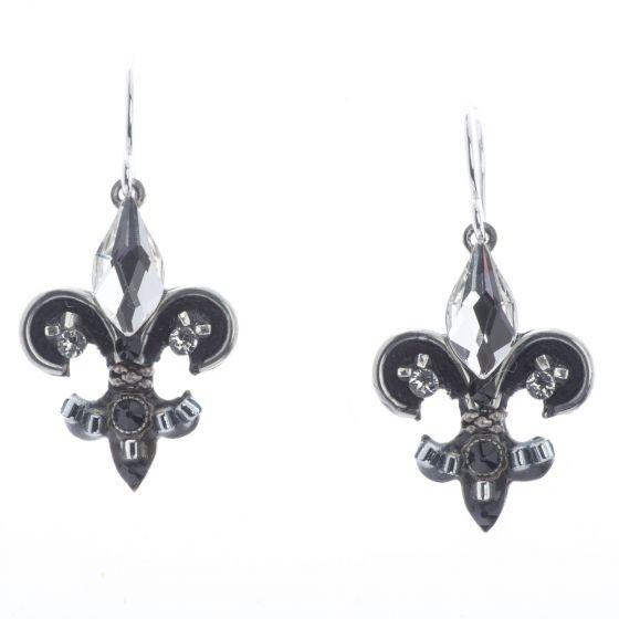 Firefly Mosaic Jewelry Black & White Fleur de Lys Earrings