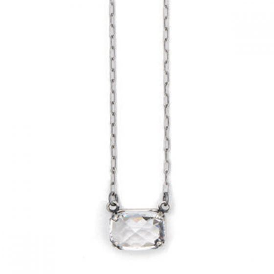 Pillow Cut Crystal Necklace - Clear and Silver