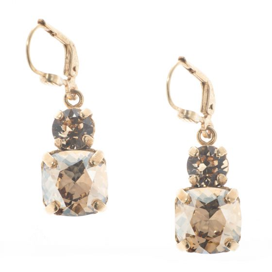 Catherine Popesco Double Crystal Combo Earrings - Champagne