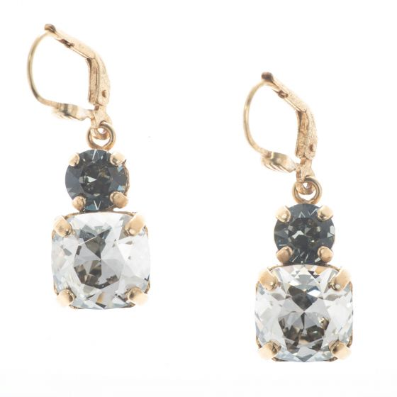 Catherine Popesco Double Crystal Combo Earrings - Shade