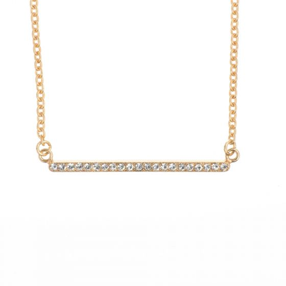 New! Catherine Popesco Gold Crystal Stone Bar Necklace - Black Diamond